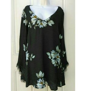 Free People Floral Bell Sleeve Tunic